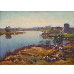 Dutch Painting of Amstelveen Polder in October by Frits Hubeek