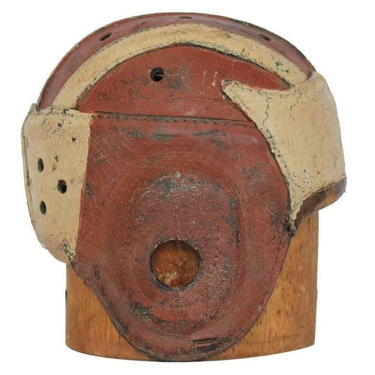 Antique American Football Leather Helmet with Wood Hat Mold For Sale
