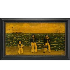 Primitive American Painting Depicting American Sailor's
