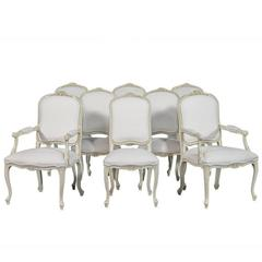 Set of Eight Carrocel Custom Louis Quinze Dining Chairs