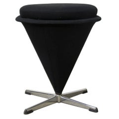 1958, Verner Panton, K3, Low Cone Stool Low for Rosenthal in Black Fabric