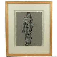 André Lhote School Cubist Nude Female Pencil Drawing on Gray Paper, 1948