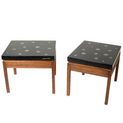 Pair of Side Tables by E. Allemeersch Black Resin and Marchasite