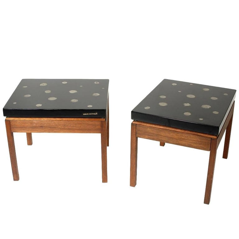 Pair of Side Tables by E. Allemeersch Black Resin and Marchasite For Sale