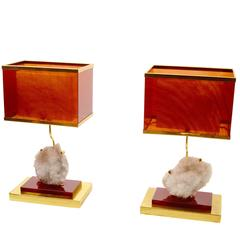 Amazing Pair of Table Lamps in Lucite and Cristal De Roche, circa 1970