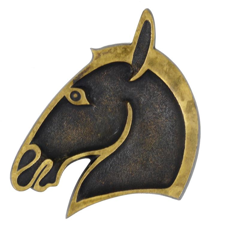 Walter Bosse Mid-Century Horse Head Brass Ashtray, Hertha Baller, Austria, 1950s