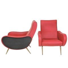 Pair of Zanuso Style Metal Leg Lounge Chairs