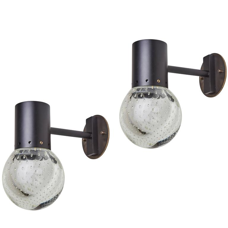 Pair of Seguso Glass Sconces by Gino Sarfatti for Arteluce 1
