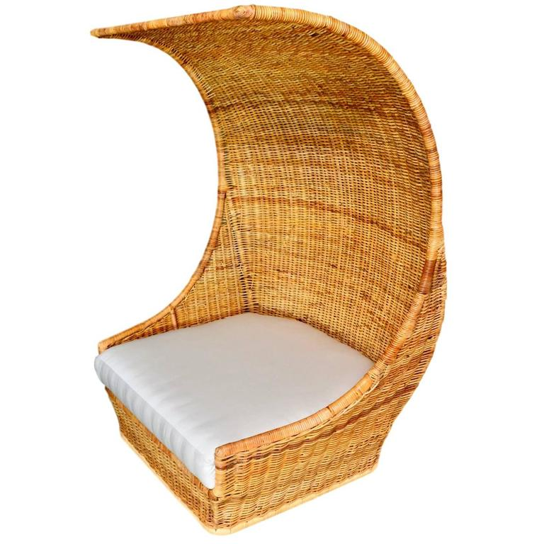 Charming Massive Hooded Rattan Canopy Chair Or Loveseat For Sale