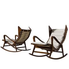 Set of Two Reupholstered Italian Rocking Chairs for Cassina
