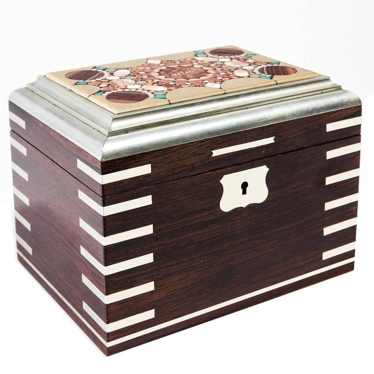 Carlsbad Bohemian Hardstone Inlaid Rosewood and White Metal Casket Box