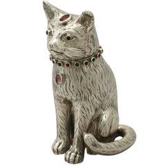 Antique Edwardian Sterling Silver 'Cat' Sugar Box
