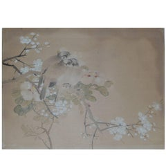Antique Chinoiserie Watercolor Panel of Birds, 19th Century