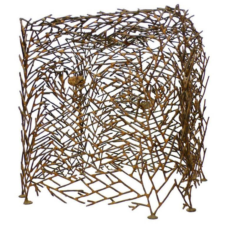 "Richard Filipowski Metal Sculpture, ""Cube"""