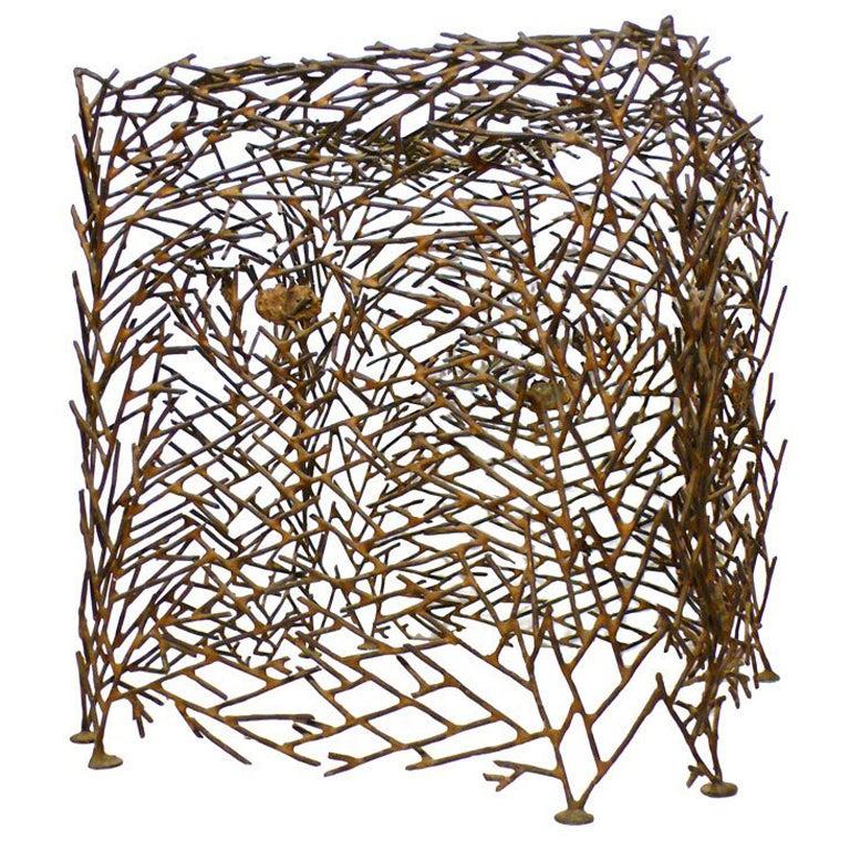"Richard Filipowski Metal Sculpture, ""Cube"""