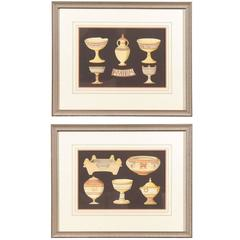Pair of Framed 18th Century Continental Engravings of Grecian Pottery