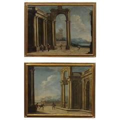 Pair of Gilt Framed Italian Oil on Canvas Capriccio Paintings, circa 1800