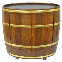 Vintage Custom Small French Oak & Brass Oval Wine Barrel Bar Cabinet on Casters