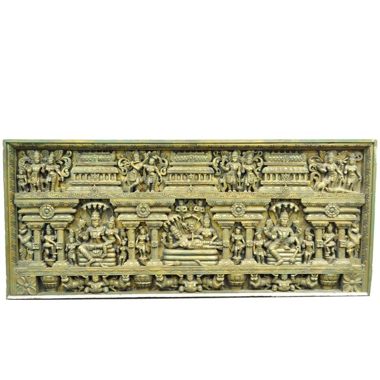 Large 19th Century Thai Ornate Figural Relief Carved Wood Architectural Element