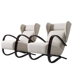 Jindrich Halabala Pair of Reupholstered Wingback Lounge Chairs