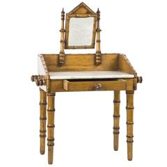 Maple and Faux Bamboo Marble-Top Doll's Wash Stand Furniture, France
