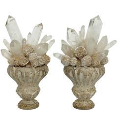 Wunderkammer Naturalia Mineral Specimen, Desert Rose and Rock Crystal