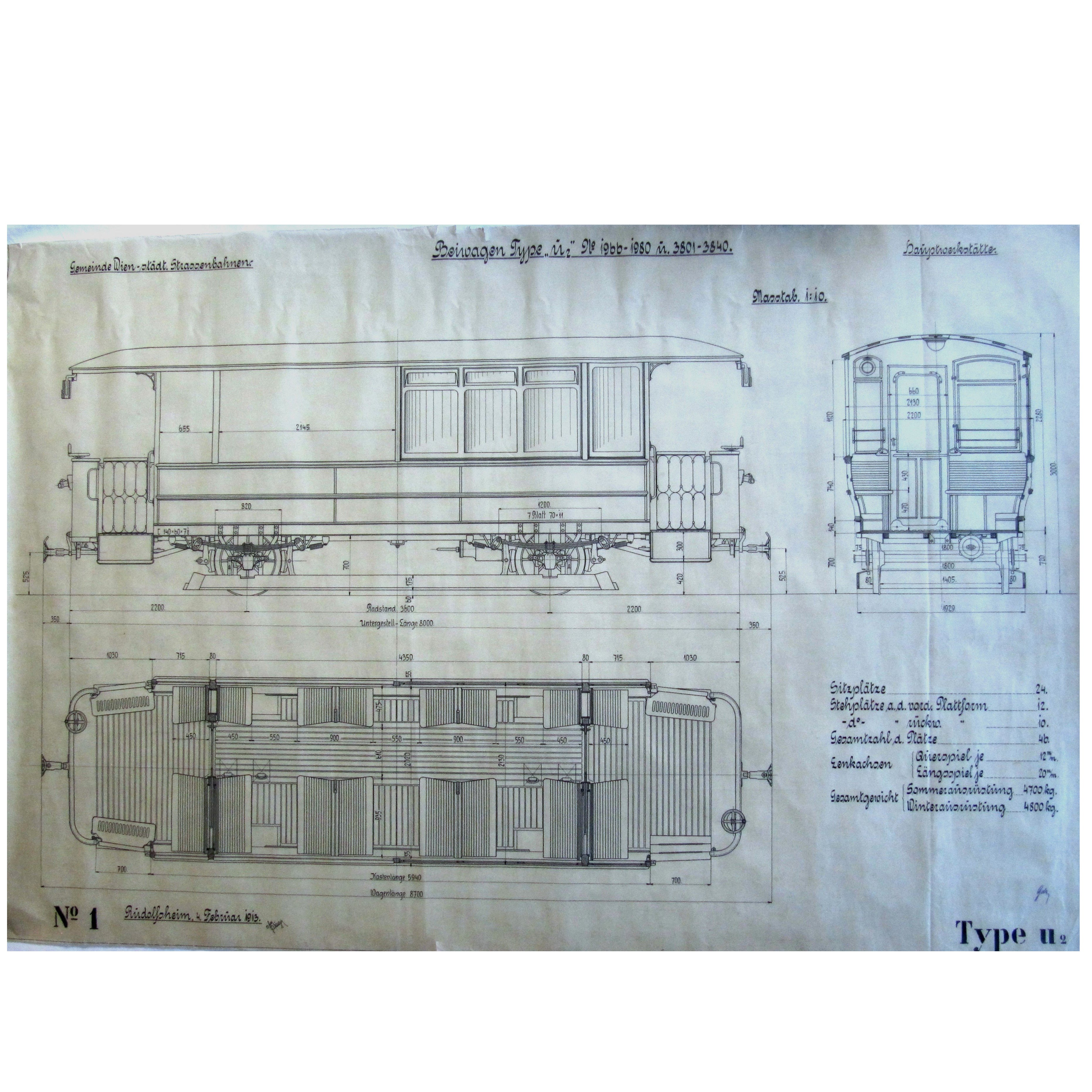 Huge Original Construction Plan Viennese Tramway, 1913 For Sale at ...