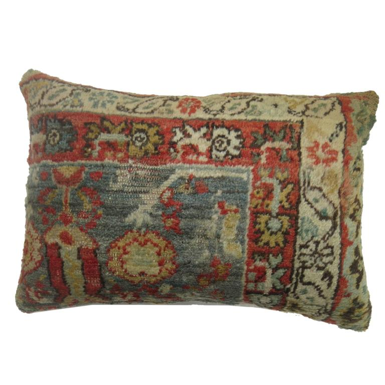 Antique Oushak Rug Pillow For Sale