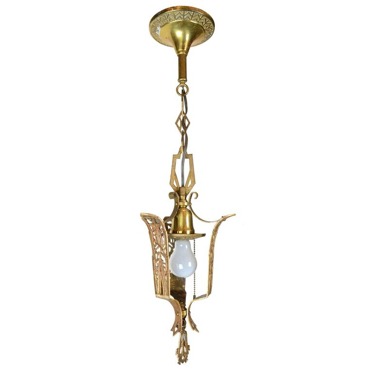 Art Deco Brass Pendant Light, circa 1930