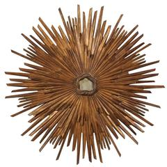"""""""Toscana"""" Sunburst Wall Ornament with Bronze Color and Small Center Mirror"""