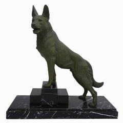 Louis-Albert Carvin French Art Deco German Shepherd Sculpture, circa 1930