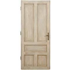 Single European Painted Wood Door in Grey Blue with Green Brown Accents