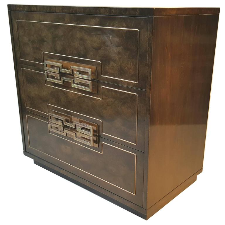 Stunning Burl Elm and Brass Three-Drawer Chest by Mastercraft