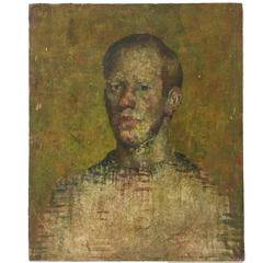 20th Century Oil on Canvas Portrait Painting, Unframed, of a Man in a Sweater