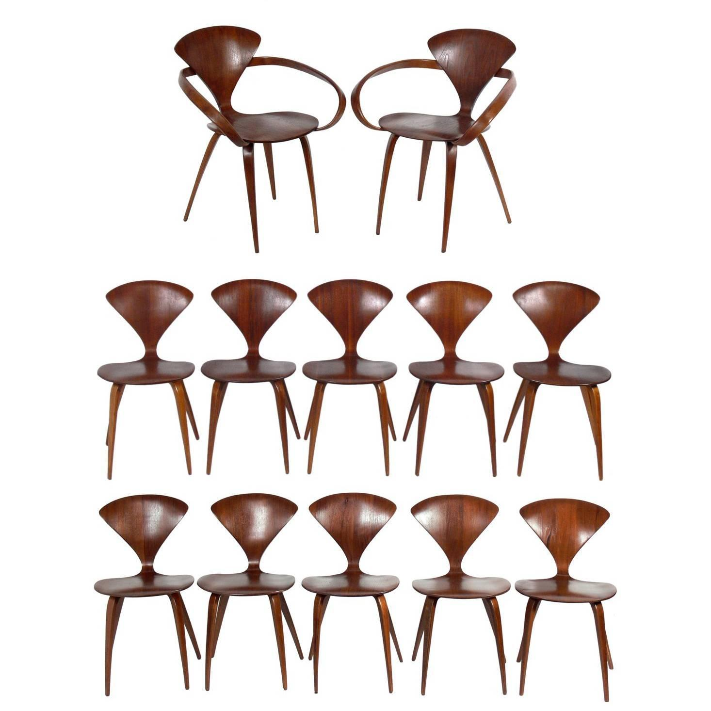 Set Of 12 Sculptural Dining Chairs By Norman Cherner For Plycraft At 1stdibs