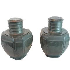 Pair of Large 19th Century Pewter Chinese Tea Cannisters