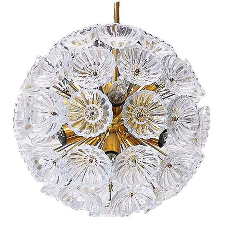 Starburst Chandelier Sputnik Lamp Glass Flower. 1960s. Germany