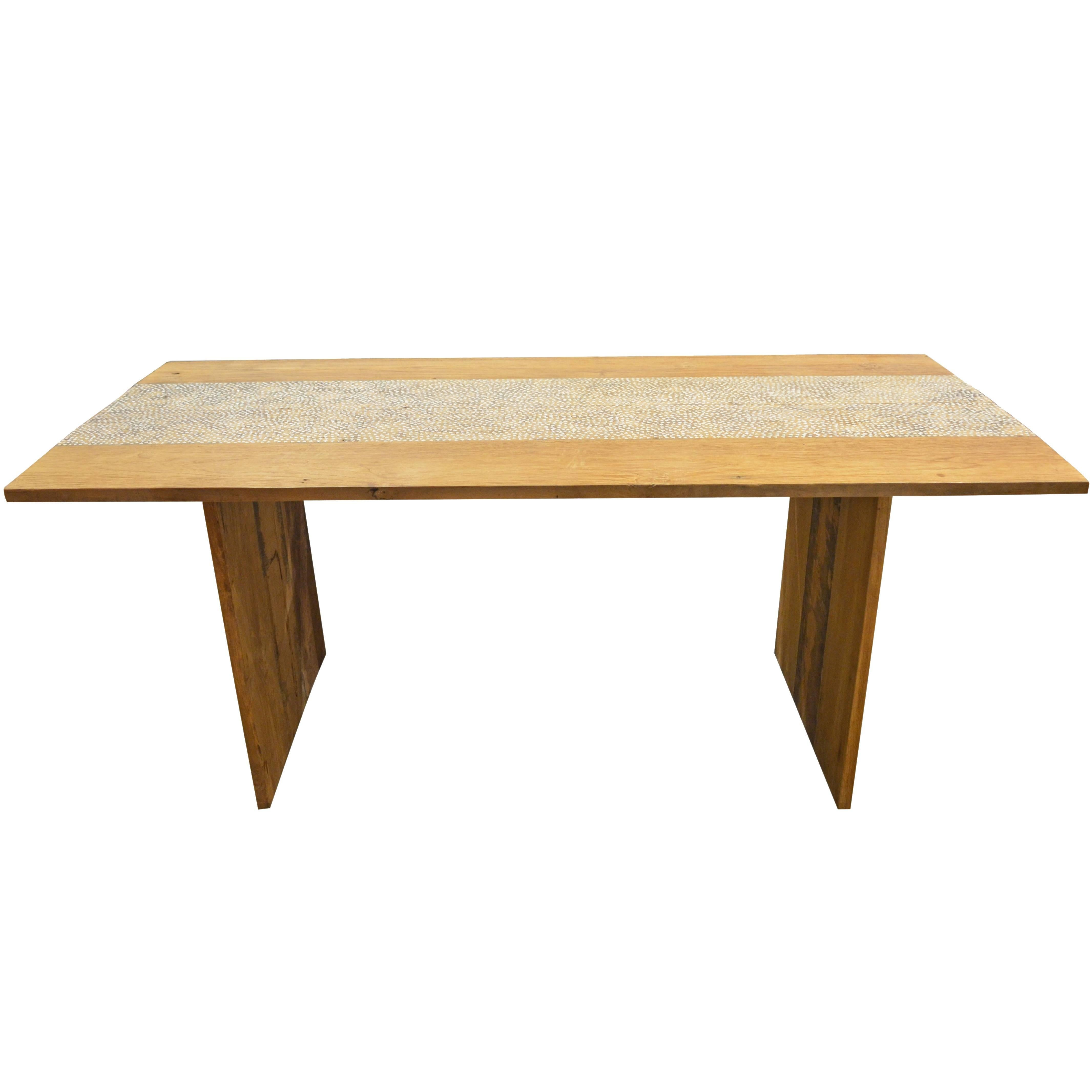 Andrianna Shamaris Shell Inlay Teak Wood Dining Table