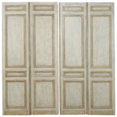 Set of French Green-Grey, Bi-Folding Doors from the 19th Century