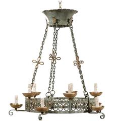 French Ten-Light Painted Iron Chandelier, Soft Green and Grey Color with Bronze