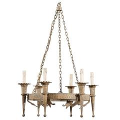French Six-Light Hammered Metal Circular Chandelier in Bronze, Gold & Grey Color