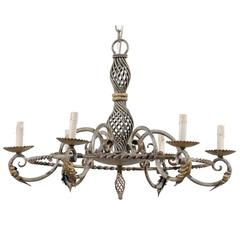 French Six-Light Painted Iron Chandelier with Intricately Twisted Central Column