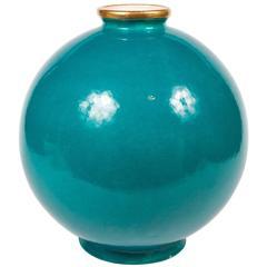 Important Maison Jansen Turquoise Blue Glazed Ceramic Vase