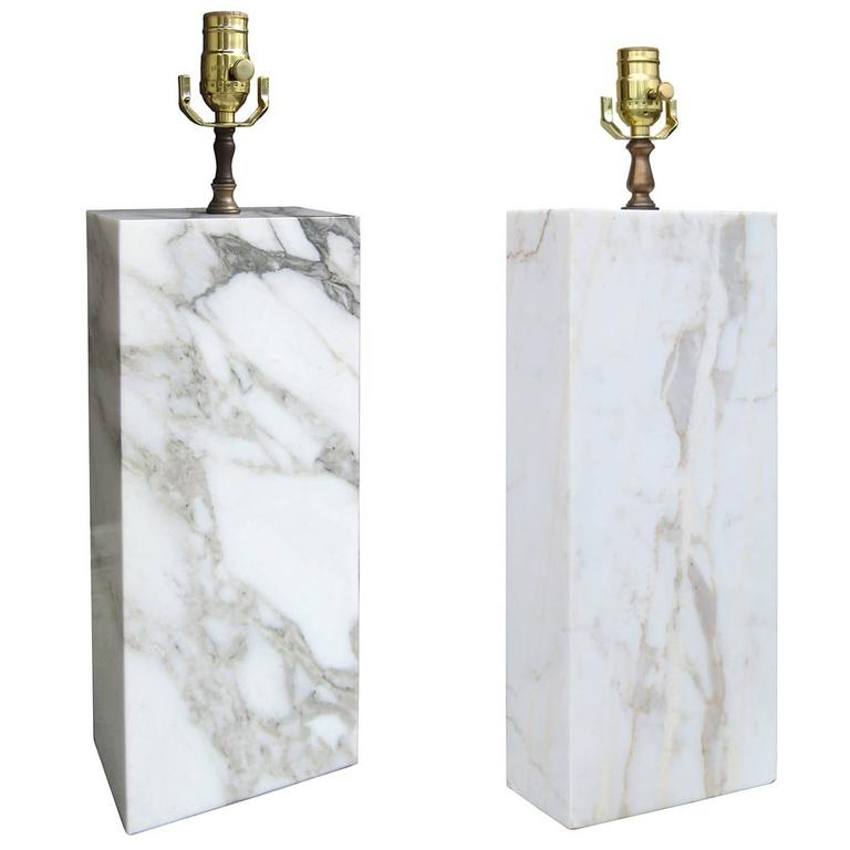 Pair of Mid-Century White Block Marble Lamps