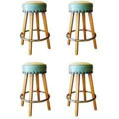 Mid Century Style Bar Stools with Round Footrest, Set of Four