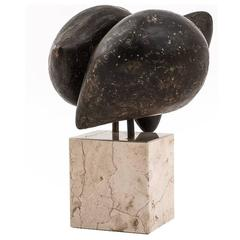 Abstract Bronze Sculpture by R. Greve, 1971