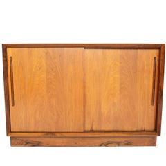 Danish Modern Rosewood Sliding Door Credenza