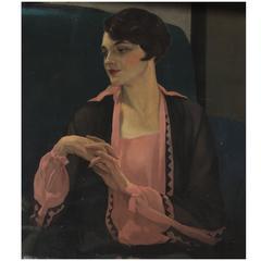 """Pauline in Pink"" Painting by Sir James Gunn, circa 1932"