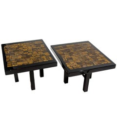 Pair of Side Table by E. Allemeersch Black Resin Inlay Tiger Eyes
