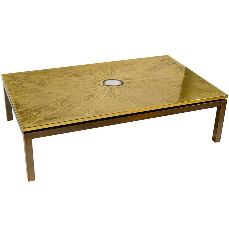 Etched Brass Coffee Table Inlay Agate by ADS For Sale